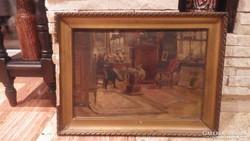 K. Madarász Adeline régi olaj-karton festmény enteriőr