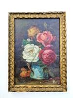 Hoitsy Fridolin csendélet olaj karton festmény, jelzett, aranyozott keretben