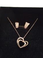 Rose aranyozott ezüst  nyaklánc medállal +ajándék fülbevaló