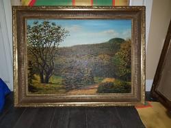 """Szabó Lajos (1927-1995), """"Budai-domb"""", Munkácsy-díjas festőművész, 50x70+keret, olaj, vászon"""