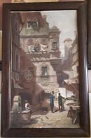 Rudolf von Alt: Utcajelenet (antik festmény)