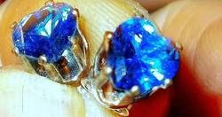 London Kék Topáz köves Szív 925 ezüst fülbevaló