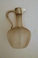 Antik  külső felületén bordás  szecessziós üveg karaffa, jelzett  tetővel
