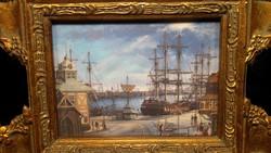 Cozy antique harbor, sea and sailing landscape porcelain picture rarity, luxury baroque golden frame