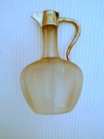 Antik jugendstíl  külső felületén bordás  szecessziós üveg karaffa, jelzett  tetővel