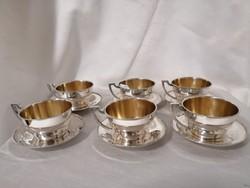 Ezüst szecessziós kávés pohár készlet.