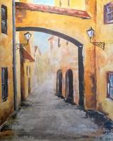 """Kisvárosi utca"" című festmény"