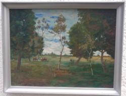 Mészáros Mihály Legeltetés című olajfestménye