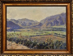 Viski János : Táj,háttérben hegyekkel,olajfestmény
