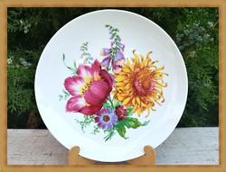 Káprázatosan szép minőségi német Kaiser , virágcsokor mintás fali porcelán dísz tányér