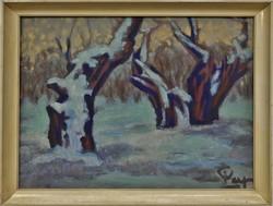 Pap Gyula : Téli erdő ,olajfestmény