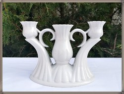 Nagy méretű, hófehér porcelán 3 ágú gyertyatartó