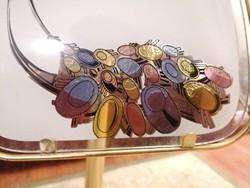 Gyönyörű asztali lámpa, 62 cm magas, festett üveglapokkal.