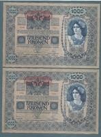 1000 Korona 1902 EF -  aUNC Deutschösterreich Magyar hátlap 2 Sorszámkövető!!