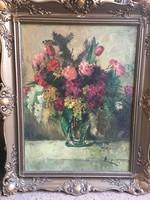 Belányi Viktor : Virágcsendélet