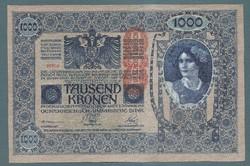 1000 Korona 1902 EF+ Deutschösterreich bélyegzés Hátlap Azonos