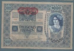 1000 Korona 1902 EF -  aUNC Deutschösterreich Magyar hátlap