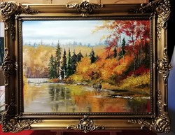 Cinnabar - a tale of pine forests (full size 51 x 66, oil) in a wonderful frame