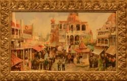 Neogrady Antal : Örmény piac , olajfestmény