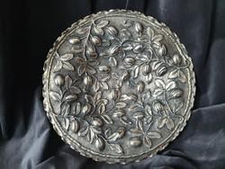 Ezüst tálca, kávécserje levél és termés mintázattal.800-as ezüst, D27.5cm, 352g
