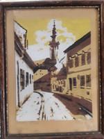 Beregi jelzéssel, 2 db diópác festmény, a Tabánról, 18 x 20 cm-es