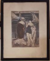 Vaszary János: Balatonparton Szignált, akvarellel színezett rézkarc
