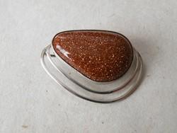 KK765 Különleges Csokoládé barna ragyogó medál / bross ezüst 930 Izrael
