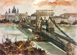 Fekete Judit: Budapesti látkép ,akvarell