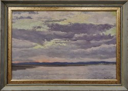Puskás Tibor : Felhők a víz felett , olajfestmény