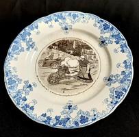 Xx. sz elejéről , francia karika túra mintás jelenetes fajansz tányér !