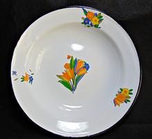 Virágos régi fém tányér, zománc tányér