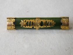 KK771 Antik 9 karátos arany bross jáde kővel Új-Zéland - KIA ORA - Jó egészséget