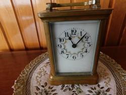 Antik angol utazó óra, asztali óra, 8 napos, hibátlan szerkezet, hibátlan működés