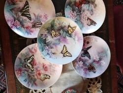 Porcelán Bradex tányér gyüjtemény lepkék