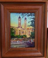 18 x 13 cm, olaj, farost, Hadházy festménye, zsinagóga ábrázolás.