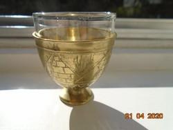 Török ottomán ZARF kávés pohár tartó kézzel készült egyedi cizellált mintákkal,tűzálló üveg pohárral