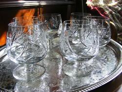 Gyönyörűen kézzel metszett, talpas, ünnepi kristály pohár készlet, 6 db boros vagy likőrös kehely