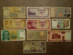 10 db külföldi vegyes bankjegy / id 7722/