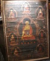 Tibeti Thangka Buddhista festmény üvegezett keretben
