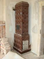 Szecessziós 220 cm magas cserépkályha porcelán csempés 1910-ből