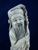 Antik Kínai Qing (Csing) Dinasztia Korabeli Elefántcsont Szobor