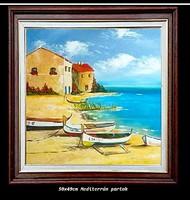 Mediterrán partok c. Olajfestmény