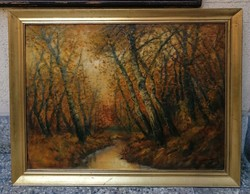 Ferenc Alberth (1853 -1959) inside the forest at dusk. Painting with original guarantee