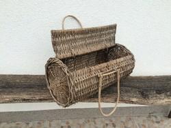 Régi vintage fonott vessző füles táska henger kosár