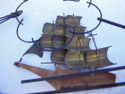 Fém -3 D-s - RÉZ -retro falidísz - 38.5 x 20 x 3 cm - vas - fa - réz