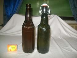 Két darab régi, domború feliratos sörös üveg - KAPSREITER BRAUEREI, HOLSTEN
