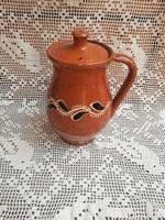 18 cm magas fedeles kerámia szilke, köcsög, paraszti dekoráció, Gyűjtői szépség
