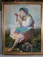 Pipázó cigány lány szignózott festmény. Olaj-vászon technika, ismeretlen festő munkája.