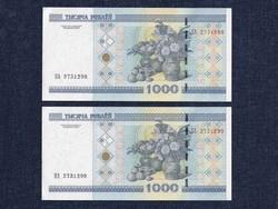 Fehéroroszország 1000 rubel 2000, 2 db sorszámkövető / id 7583/
