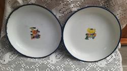 2 db Bonyhádi 26 cm-es Figurás zománcos,elefántos macis , Zománcozott tányér, tál.